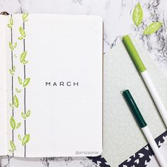 Hello, March! 🍃 . March is my birthday month, so I am really excited for it. 🤪 . Oh and btw, this theme is suggested by @paulasbujo. I hope… March Bullet Journal, Bullet Journal School, Bullet Journal Themes, Bullet Journal Layout, Journal Diary, My Journal, Bullet Journal Inspiration, Bullet Journal Ideas How To Start A, Journal Pages