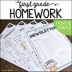 This first grade homework unit allows you to customize your homework packets each week! You can quickly search for the skills you need, print, staple and send them home! Sight Words List, Dolch Sight Words, 1st Grade Homework, Writing Comprehension, Calendar Skills, Picture Writing Prompts, Teacher Conferences, Teaching First Grade, Informational Writing