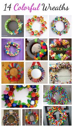 14 Colorful Wreaths You Can Make @CraftBits & CraftGossip. #wreath #Christmas # DIY