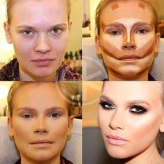 One of many ways to contour and hilighting the face. Not for every face so make it work for you :)