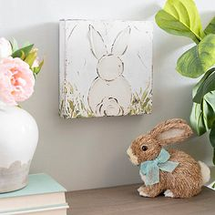 White Bunny Easter Canvas Art Print from Kirkland's diy canvas Kirkland's Kids Canvas, Mini Canvas Art, Canvas Art Prints, Canvas Paintings, Canvas Ideas, Bunny Painting, Spring Painting, Diy Painting, Beginner Painting