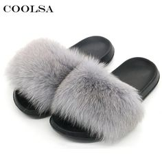 25c0b8153077d8 Coolsa New Luxury Women s Fox Fur Slippers Fluffy Real Hair Designer Flip  Flops Ladies Cute Sandal