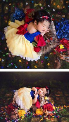 Photographer Karen Marie of Belly Beautiful Portraits created an enchanting infant Disney princess photo shoot. Disney Babys, Disney Princess Babies, Baby Princess, Monthly Baby Photos, Baby Girl Photos, Newborn Photography Poses, Newborn Baby Photography, Newborn Pictures, Baby Pictures