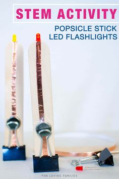 Summer STEM activity for kids. Make this fun popsicle stick LED flashlight using a simple circuit. Then, try playing some of the flashlight games listed for more fun! - Education and lifestyle Stem Projects, Science Projects, Projects For Kids, School Projects, Stem Learning, Kids Learning, Steam Activities, Activities For Kids, Sensory Activities
