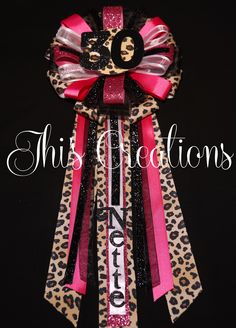 Nette's 30th birthday pin/mum/corsage in hot pink, cheetah, black, and white... #JhisCreations