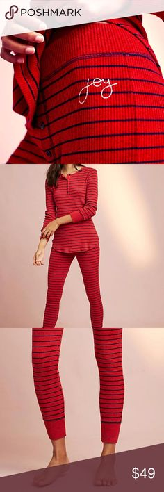 """NWT ANTHROPOLOGIE SUNDRY PAJAMA LEGGING THERMALS Putting a chic French twist on West-Coast style, Sundry represents a refined take on getaway-inspired weekend wear. Designed by Provence-born Matthiew Leblan and crafted in California, each """"Almost French€ piece is an instant, iconic classic.  Polyester, rayon, spandex  Size zero, new with tags.  Comfy, stretchy, warm, high rise, cuffed ankle. Button front. fits up to a 6.   SELECT SIZE 0 AT CHECKOUT  Reasonable offers as always are…"""