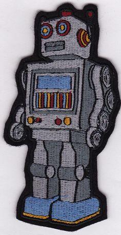 Retro Robot Embroidery Applique Patch. $13.00, via Etsy.