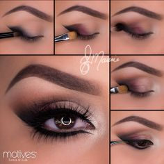 """Motives Mavens Element Palette 1.Drawing a line on the outer edge of the eye extending it outward using """"Raven"""" and blend inward at an angle. 2. Apply """"Truffle"""" then """"Bordeaux"""" overlapping each color slightly 3.Taking """"Native"""" blend in the crease.4. Take """"Gilded"""" and apply after """"Bordeaux"""" lastly to highlight the inner corner apply """"Shell."""" 5.Apply the liner to both top and bottom lashes! Smudge the liner slightly with """"Raven"""" on the lower lash line."""