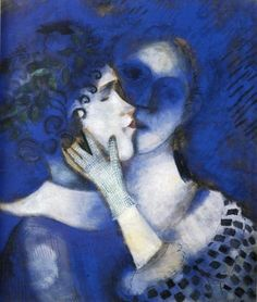Marc Chagall, Blue Lovers, 1914.  I was inspired by this piece by Chagall to create a 3D sculpture made out of clay.