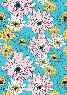 Scattery floral print - Turquoise Art Print