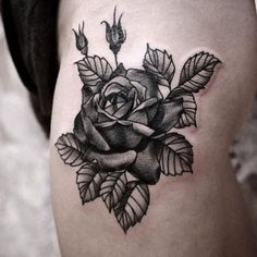 rose blackwork traditional tattoo