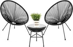 A patio without some patio chairs? You need to solve that issue quickly and take advantage of those sunny days with the ones you love the most, extending your house fun and moments to your patio space. The right materials and the decor style of your choice will make you want to spend more time outside. Try it out. Acapulco Chair, Round Accent Table, Patio Furniture Sets, Black Outdoor Furniture, Small Balcony Furniture, Furniture Ideas, City Furniture, Wicker Furniture, Modern Furniture
