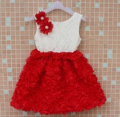 Red and ivory rosette lace dress sold on www.facebook.com/sweetlittleprincessboutique