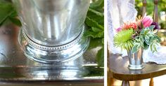 With its detailed beaded edge, this julep cup sparks an elegant look that is perfect as a vase for your centerpiece bouquet! Mix and match it with other vases for a vintage inspired theme.