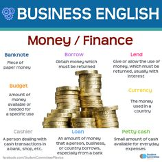 Money / Finance, BUSINESS ENGLISH - Repinned by Chesapeake College Adult Ed. We…