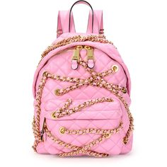 Moschino Chains Quilted Leather Backpack ($2,015) ❤ liked on Polyvore featuring bags, backpacks, pink, chain backpack, moschino, quilted leather backpack, quilted chain bag and quilted backpack