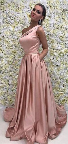 e08499ca85 Blush Pink Satin One Shoulder Simple Prom Dresses