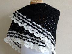 Zwarte omslagdoek model Southbay met zwartwitte door MeesterMaakt