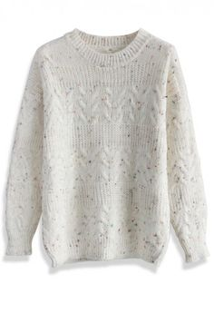 Candy Dots Cable knit Sweater in Ivory