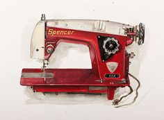 A photograph of a drawing of a red sewing machine by KJ James