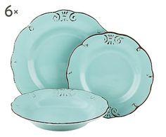 Service de table DUCHESSA, turquoise - 18 pièces