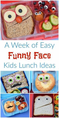 A Week of Easy Funny Face Lunches 5 Quick and easy kids packed lunch ideas with funny face sandwiches and bagels – these cute bento lunches can all be made in minutes Kids Lunch For School, Healthy Lunches For Kids, Toddler Lunches, Lunch Snacks, Kids Meals, Easy School Lunches, Bento Box Lunch For Kids, Work Lunches, Fun Packed Lunch Ideas