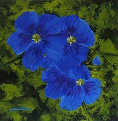 Tami Baron - Chilean Blue Crocus- Oil on canvas 12x12