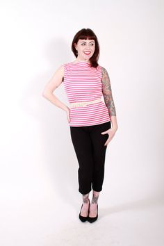 Vintage Late 1950s Shirt Magenta Pink and White by stutterinmama, $42.00