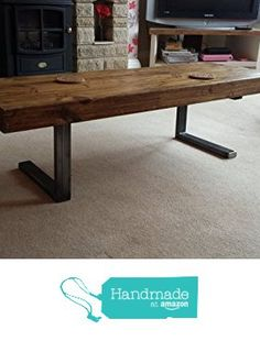 Chunky wood coffee table with steel tube shelf from Red Cottage