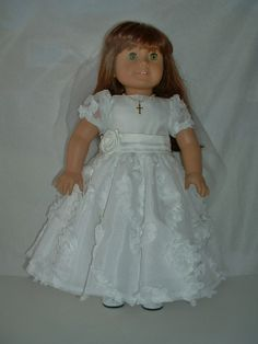 Communion, Confirmation, wedding, special occasion dress and veil fits American girl 18 inch doll clothes