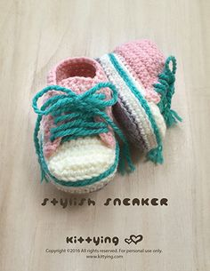 Stylish Toddler Sneakers Crochet Pattern by Kittying Crochet Pattern from Kittying.com / Mulu.us This crochet pattern is designed in toddler sizes of 4 to 9.
