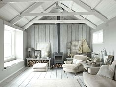 If you have a tiny house then a wood burning stove can be a very effective way to heat the whole home, also very useful for other purpose in open kitchen. Coastal Living Rooms, Living Room White, Living Spaces, Living Area, Barn Living, Cottage Living, Small Living, Modern Living, Country Living