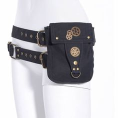 Men Women Black Steampunk Steam Punk Fashion Calvary Waist Bags SKU-11408007
