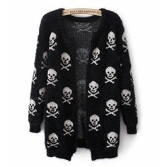 Skulls Accent Long Sleeve Mohair Cardigan
