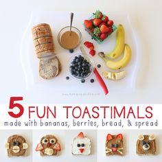 5 Fun Toastimals With Bananas Berries Bread  Spread | Mama Papa Bubba