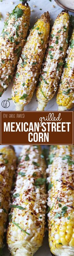 Grilled Mexican Street Corn quick easy and SO yummy TheGarlicDiaries Grilled Mexican Street Corn quick easy and SO yummy TheGarlicDiaries Mexican Dishes, Mexican Food Recipes, Mexican Desserts, Grilling Recipes, Cooking Recipes, Vegetarian Grilling, Healthy Grilling, Freezer Recipes, Freezer Cooking