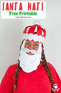 Get festivewith this fun Christmas craft! Make and wear a cute Paper Santa Hat! This Christmas hat idea is great for fun loving kids and grown-ups! Christmas Hat, Christmas Crafts, Christmas Printables, Toddler Crafts, Preschool Crafts, Santa Crafts, Card Crafts, Crafts To Make And Sell Unique, Diy Outdoor Weddings