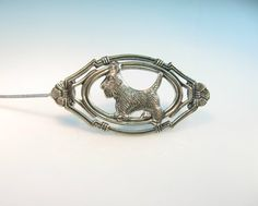 Sterling Silver Scotty Brooch Vintage 1930s by bohemiantrading