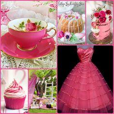 Collage by Miss Lily Bliss Pretty pink dress, teacup, cake, cupcake