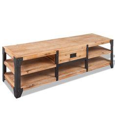 1 Drawer TV Stand Shelves Brown Colour Steel Frame Wooden Living Room Furniture