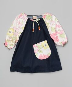 Love this Navy Puff-Sleeve Dress - Toddler & Girls on #zulily! #zulilyfinds