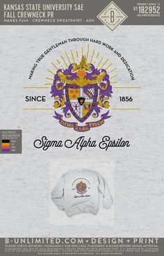 Kansas State Sigma Alpha Epsilon PR Sweatshirt | Fraternity Event | Greek Event #sigmaalphaepsilon #sae #kstate