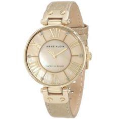 Anne Klein 1012GMGD Women's Gold MOP Dial Snake Print Beige Leather Strap Watch