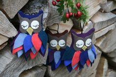 Weihnachtsdeko / Stoffanhänger Eule von BogThomHandmade auf Etsy