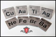 Periodic Table Coasters - made using Vinyl Flooring and a CNC router.
