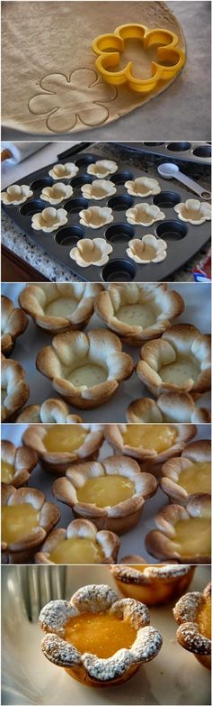 Flower shaped Mini Lemon Curd Tarts are perfect for a Bridal or Baby shower! - Flower shaped Mini Lemon Curd Tarts are perfect for a Bridal or Baby shower! Just Desserts, Delicious Desserts, Dessert Recipes, Yummy Food, Mini Desserts, Dessert Cups, Baking Desserts, Plated Desserts, Tea Party Recipes