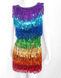 Sparkling Fully Sequined Gay Pride RAINBOW Gown TM7903 Hand made ... 5af14a0fd7e