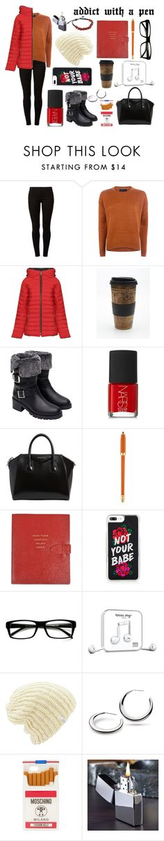 """""""addict with a pen"""" by babyisonfire ❤ liked on Polyvore featuring Dorothy Perkins, WearAll, Free People, Zara, NARS Cosmetics, Givenchy, Louis Vuitton, Smythson, ZeroUV and Happy Plugs"""