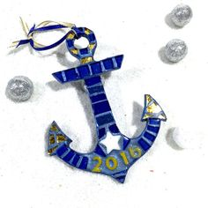 Navy Gold Anchor ? Personalized Date ? Navy Ornaments ? Mosaic Anchor Ornament ? Christmas Ornament ? Tree Ornaments ? Go Navy Gift Idea
