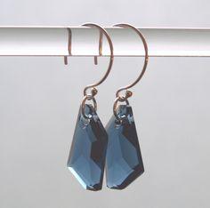 Swarovski Crystal Pendant Earrings  Montana Sky by TruMaLu on Etsy, $21.00
